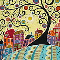 Houses And A Swirl Tree by Karla Gerard