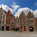Houses Of Jan Van Eyck Square In Bruges Belgium by Louise Heusinkveld