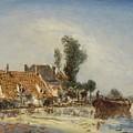 Houses On A Waterway Near Crooswijk by Johan Barthold Jongkind