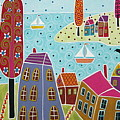 Houses Trees And Sailboats By The Bay by Karla Gerard