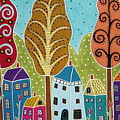 Houses Trees Birds Painting By Karla G by Karla Gerard