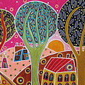 Houses Trees Whimsical Landscape by Karla Gerard