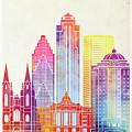 Houston Landmarks Watercolor Poster by Pablo Romero