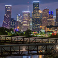 Houston Skyline Over Buffalo Bayou At Twilight by Tod and Cynthia Grubbs