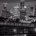 Houston Skyline With Rosemont Bridge In Bw by Tod and Cynthia Grubbs