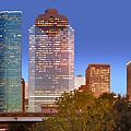 Houston Texas Skyline At Dusk by Jon Holiday