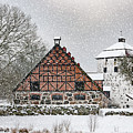 Hovdala Castle Gatehouse And Stables In Winter by Antony McAulay