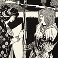 How Morgan Le Fay Gave A Shield To Sir Tristran by Aubrey Beardsley