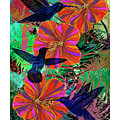 Hummers And Hibiscus 24x16 by Sandra Selle Rodriguez