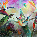 Hummingbird And Birds Of Paradise Tropical Watercolor by Ginette Callaway