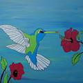 Hummingbird And Flowers by Katherine Klauber
