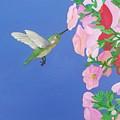 Hummingbird And Petunias by Karen Jane Jones