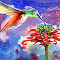 Hummingbird Drinking From Red Flower by Ginette Callaway