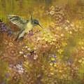 Hummingbird In Hydrangeas by Judy Osiowy