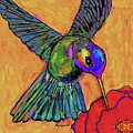 Hummingbird On Yellow by Dale Moses