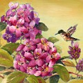 Hummingbird With Rhododendron by Eileen  Fong