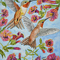 Hummingbirds And Hibiscus II by Linda Brody