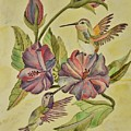 Hummingbirds And Hibiscus by Linda Brody