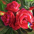 Hummingbirds And Roses by Carol Cavalaris
