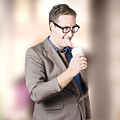 Humorous Businessman Licking Top Of Coffee Cup by Jorgo Photography - Wall Art Gallery