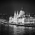 Hungarian Parliament Night Bw by Joan Carroll