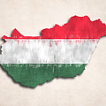 Hungary Map Art With Flag Design by World Art Prints And Designs
