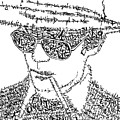Hunter S. Thompson Black And White Word Portrait by Inkpaint Wordplay
