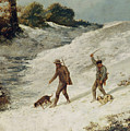 Hunters In The Snow Or The Poachers by Gustave Courbet