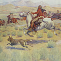 Hunting On The Prairie by Frederic Remington