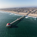 Huntington Beach Pier Aerial In Southern California  by Trekkerimages Photography