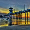 Huntington Beach Pier Sunset Reflections California Surfing Mecca Art by Reid Callaway