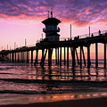 Huntington Pier At Sunset 2 by T A Davies