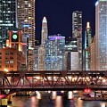 Hustle And Bustle Night Lights In Chicago by Frozen in Time Fine Art Photography