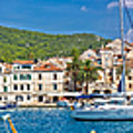 Hvar Yachting Harbor And Historic Architecture Panoramic  by Brch Photography
