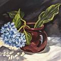 Hydrangea In A Bean Pot by Cheryl Pass