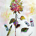 Hydrangea Still Life With Objects by Ginette Callaway