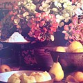 Hydrangeas And Pears Vignette by Jacqueline Manos