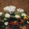 Hydrangeas And Wallflowers And Two Pots Of Pansies by Henri Jean Fantin-Latour