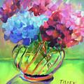 Hydrangeas In A Glass Vase by Linda Tilden