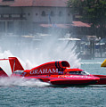 hydroplane racing boat on the Detroit river by Bruce Beck