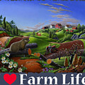 I Love Farm Life T Shirt - Spring Groundhog - Country Farm Landscape 2 by Walt Curlee