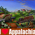 I Love Appalachia T Shirt - Spring Groundhog - Country Farm Landscape by Walt Curlee