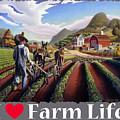 I Love Farm Life Shirt - Farmer Cultivating Peas - Rural Farm Landscape by Walt Curlee