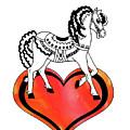 I Love Horses Watercolor by Irina Sztukowski