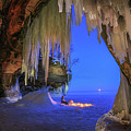 Ice Cave Setting Full Moon Serenity by Monica Hall