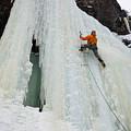 Ice Climbing Mummy II In Haylite Canyon Near Bozeman by Elijah Weber