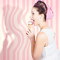 Ice Cream Pin-up Poster Girl Licking Waffle Cone by Jorgo Photography - Wall Art Gallery