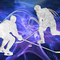Ice Hockey Players Fighting For The Puck by Elaine Plesser