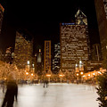 Ice Skaters And Chicago Skyline by Sven Brogren