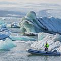 Icebergs On Jokulsarlon Lagoon In Iceland by Venetia Featherstone-Witty